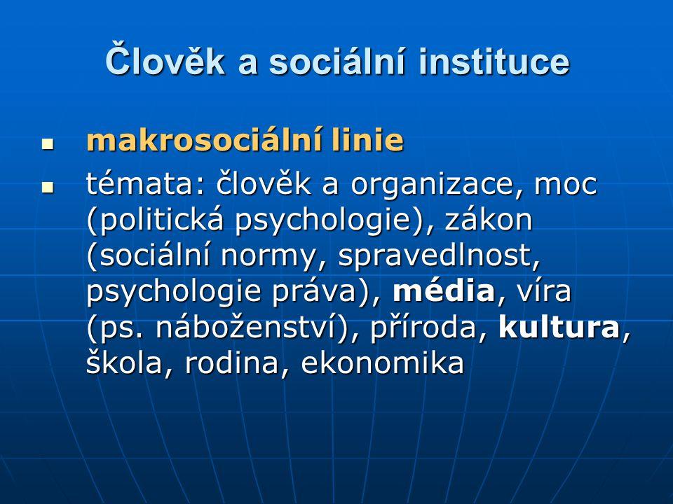 Člověk a sociální instituce