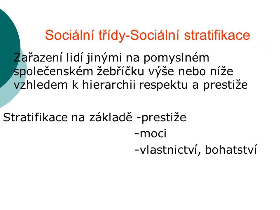 Sociální třídy-Sociální stratifikace