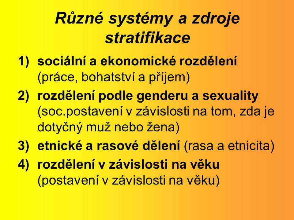 Různé systémy a zdroje stratifikace