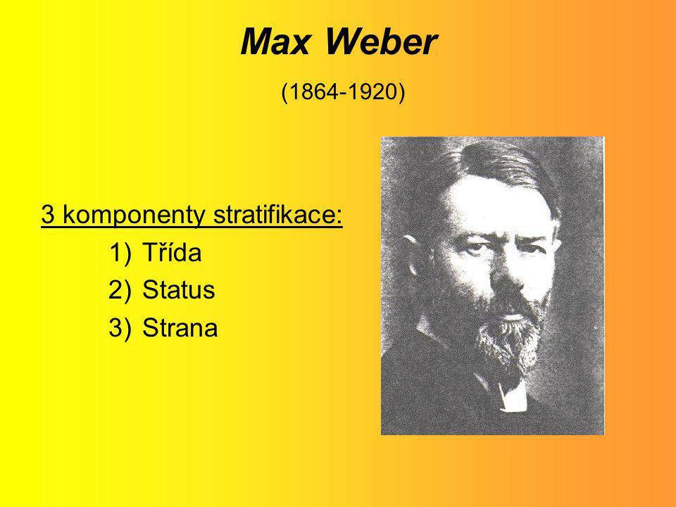 Max Weber (1864-1920) 3 komponenty stratifikace: Třída Status Strana