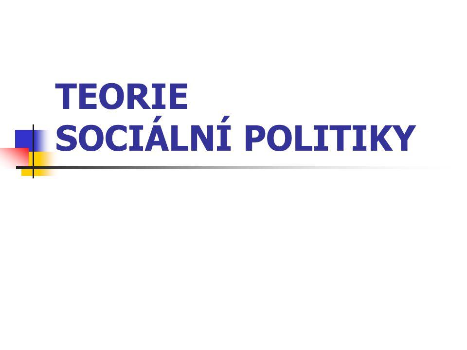 TEORIE SOCIÁLNÍ POLITIKY