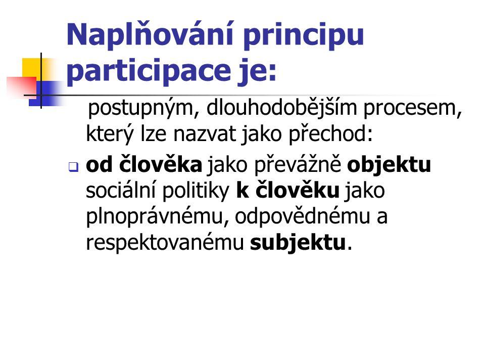 Naplňování principu participace je: