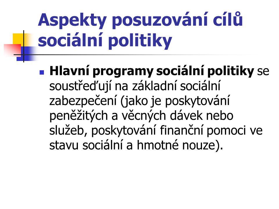 Aspekty posuzování cílů sociální politiky