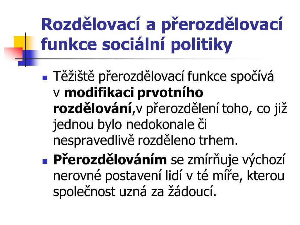 Rozdělovací a přerozdělovací funkce sociální politiky