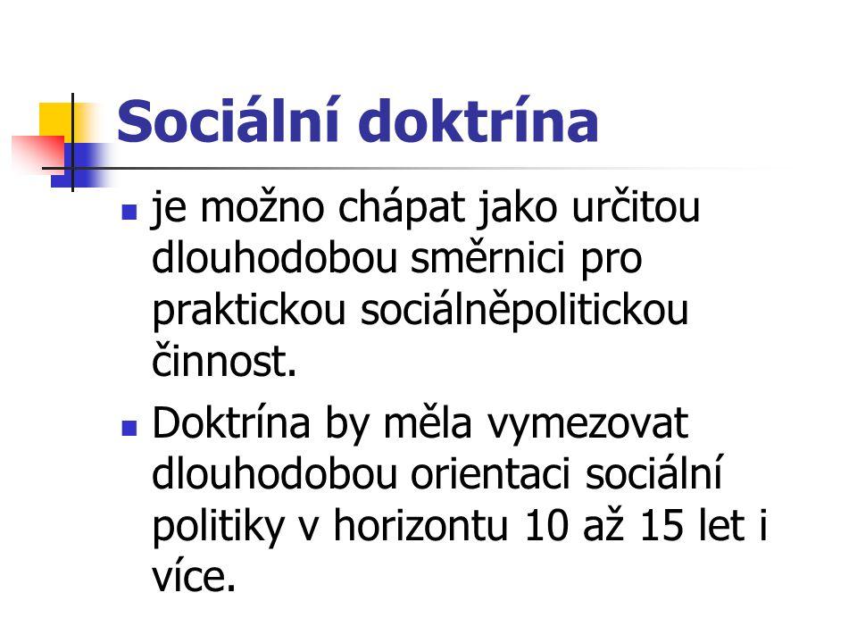Sociální doktrína je možno chápat jako určitou dlouhodobou směrnici pro praktickou sociálněpolitickou činnost.