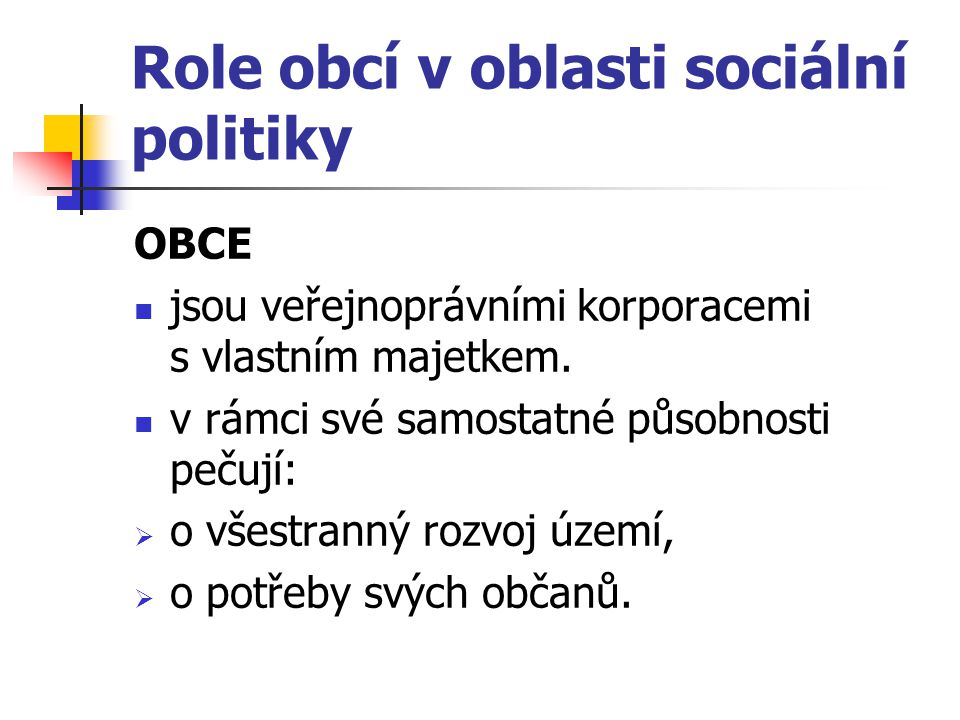 Role obcí v oblasti sociální politiky