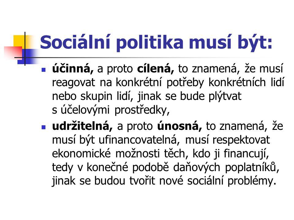 Sociální politika musí být: