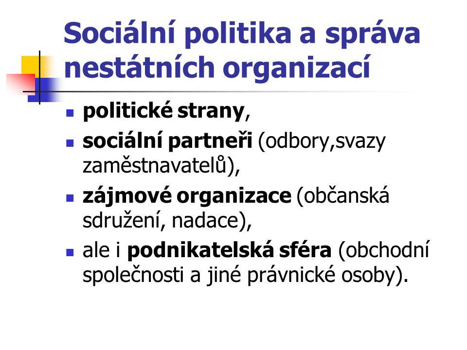 Sociální politika a správa nestátních organizací