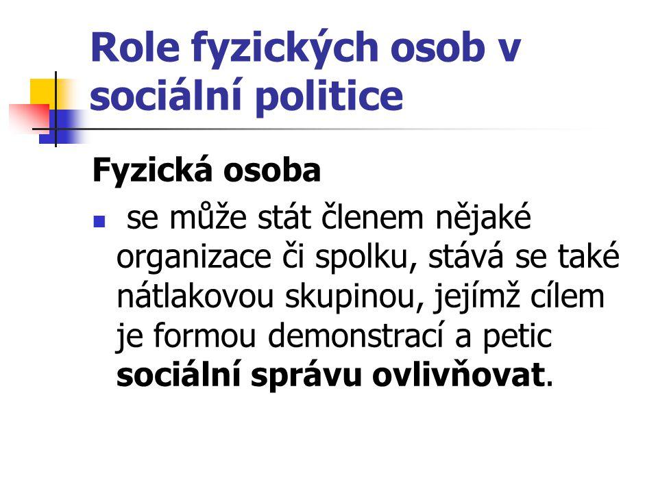 Role fyzických osob v sociální politice