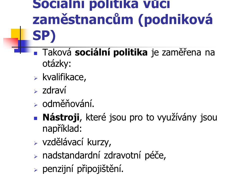 Sociální politika vůči zaměstnancům (podniková SP)