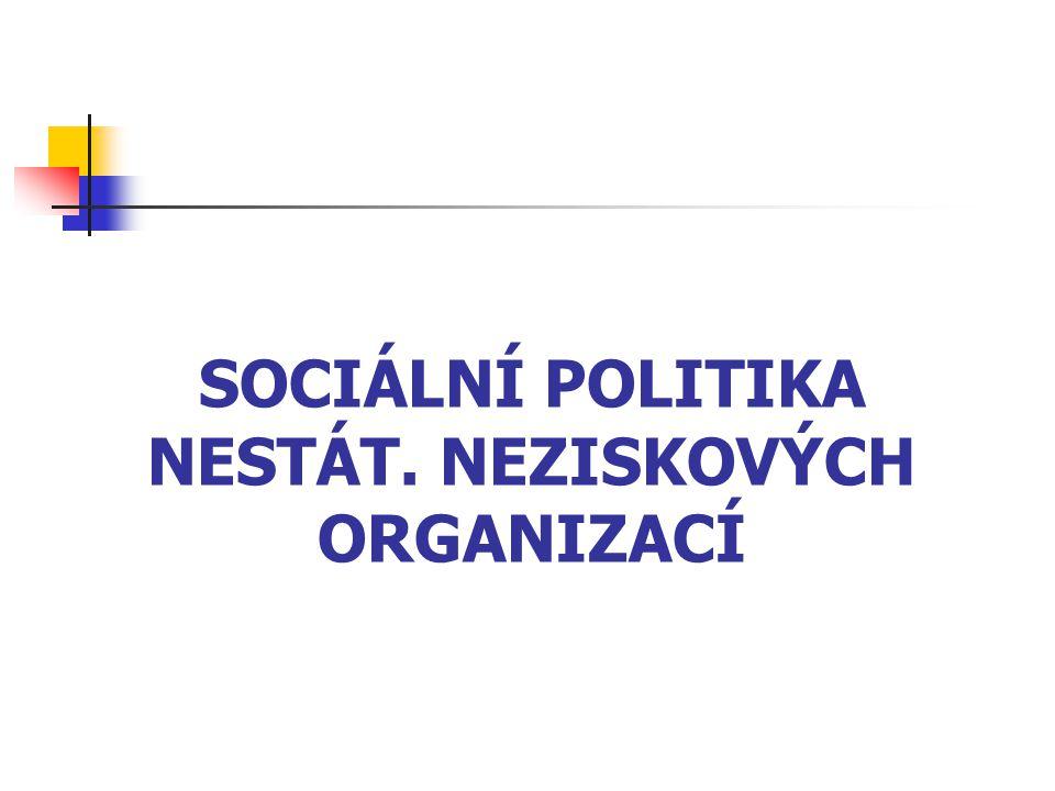 SOCIÁLNÍ POLITIKA NESTÁT. NEZISKOVÝCH ORGANIZACÍ