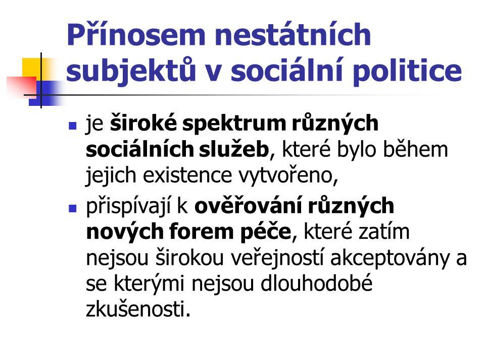 Přínosem nestátních subjektů v sociální politice