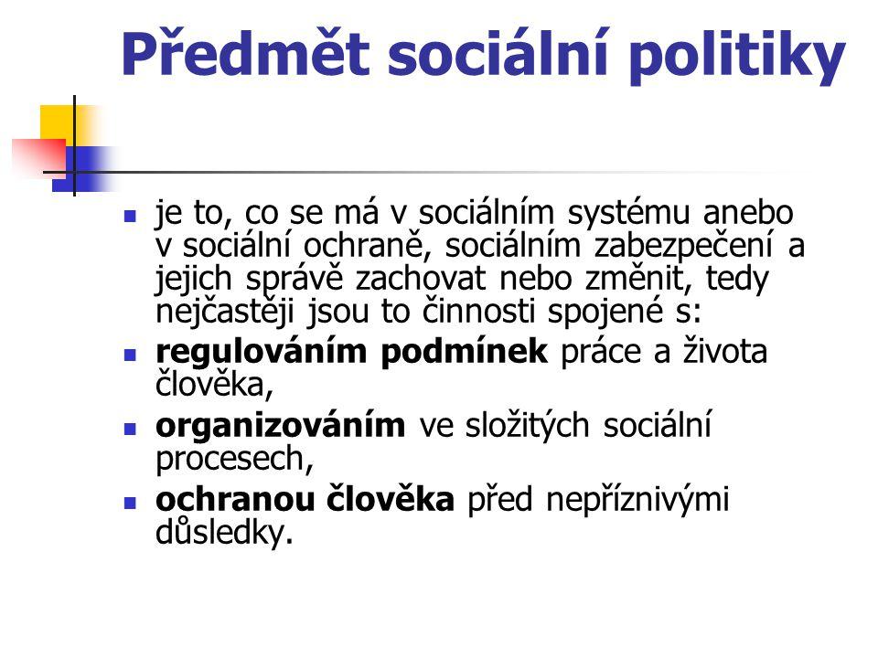 Předmět sociální politiky