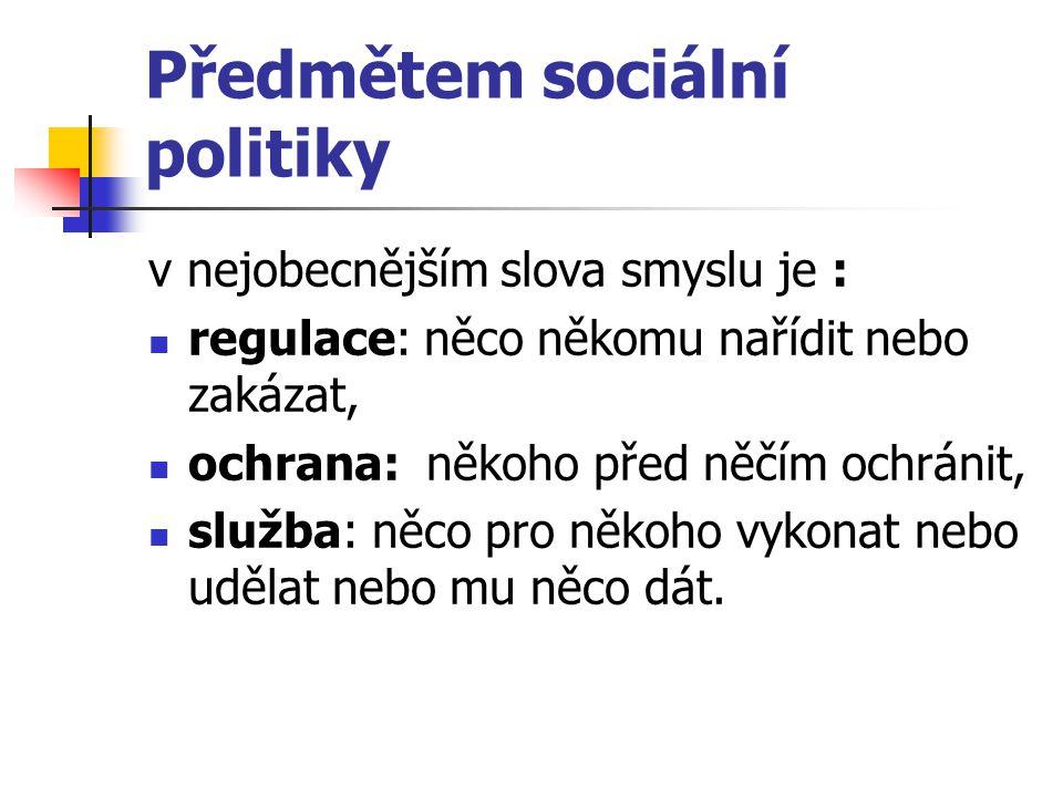 Předmětem sociální politiky