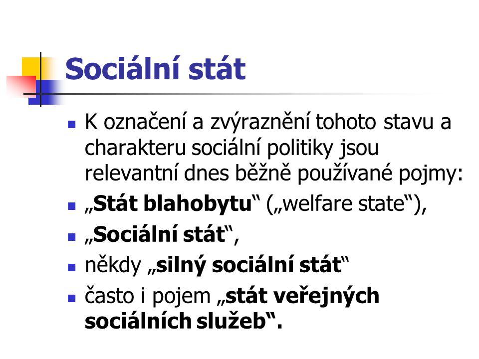Sociální stát K označení a zvýraznění tohoto stavu a charakteru sociální politiky jsou relevantní dnes běžně používané pojmy: