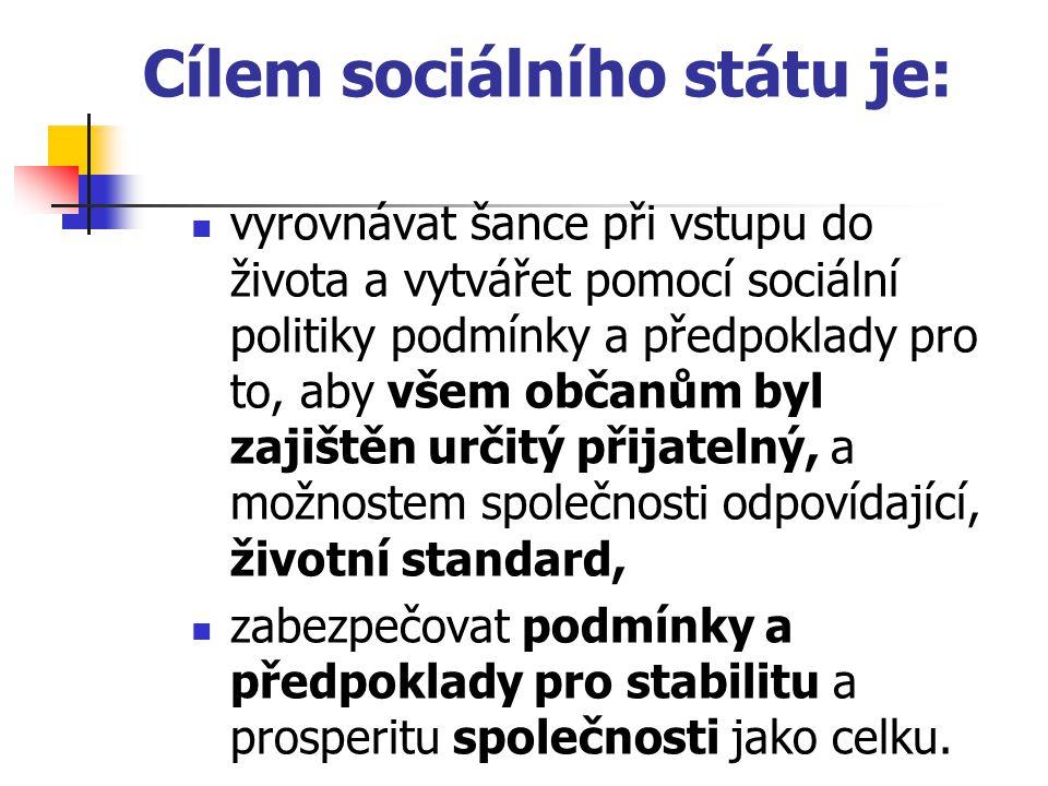 Cílem sociálního státu je: