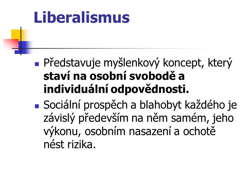 Liberalismus Představuje myšlenkový koncept, který staví na osobní svobodě a individuální odpovědnosti.