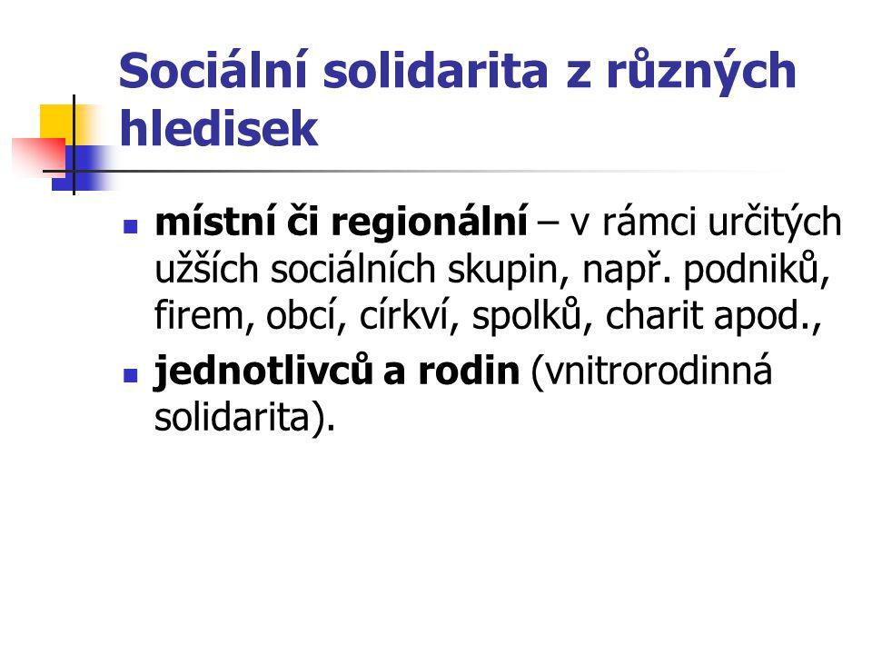 Sociální solidarita z různých hledisek
