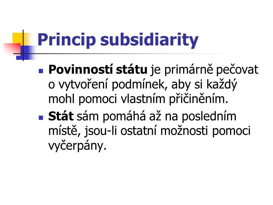 Princip subsidiarity Povinností státu je primárně pečovat o vytvoření podmínek, aby si každý mohl pomoci vlastním přičiněním.