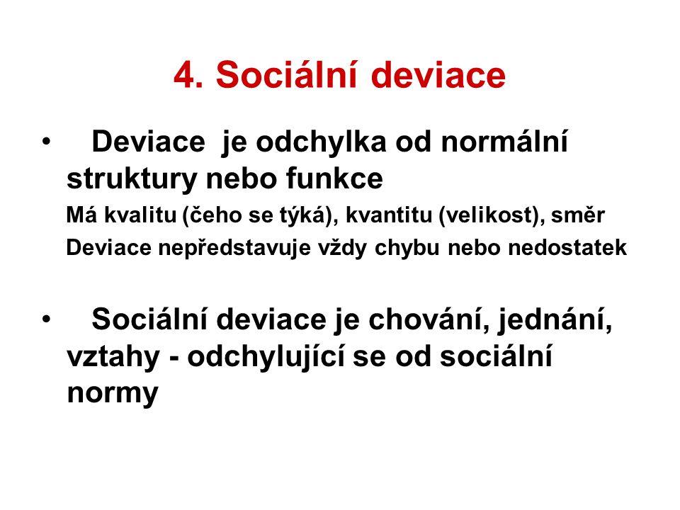 4. Sociální deviace Deviace je odchylka od normální struktury nebo funkce. Má kvalitu (čeho se týká), kvantitu (velikost), směr.