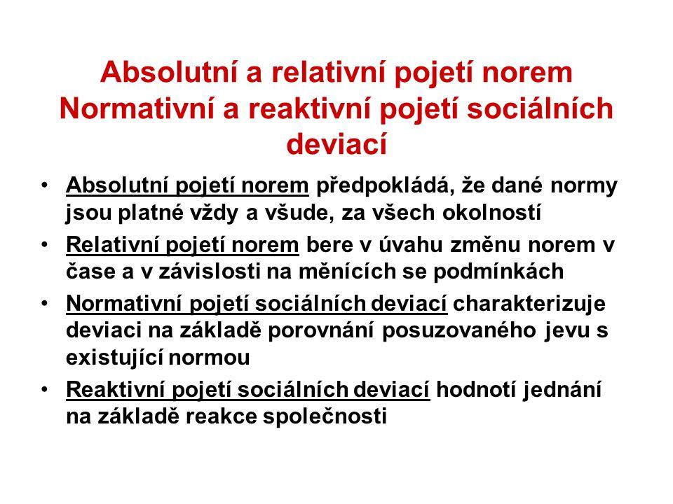 Absolutní a relativní pojetí norem Normativní a reaktivní pojetí sociálních deviací