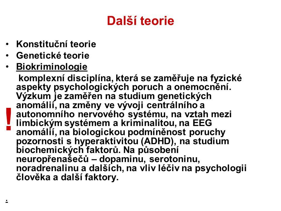 ! Další teorie Konstituční teorie Genetické teorie Biokriminologie