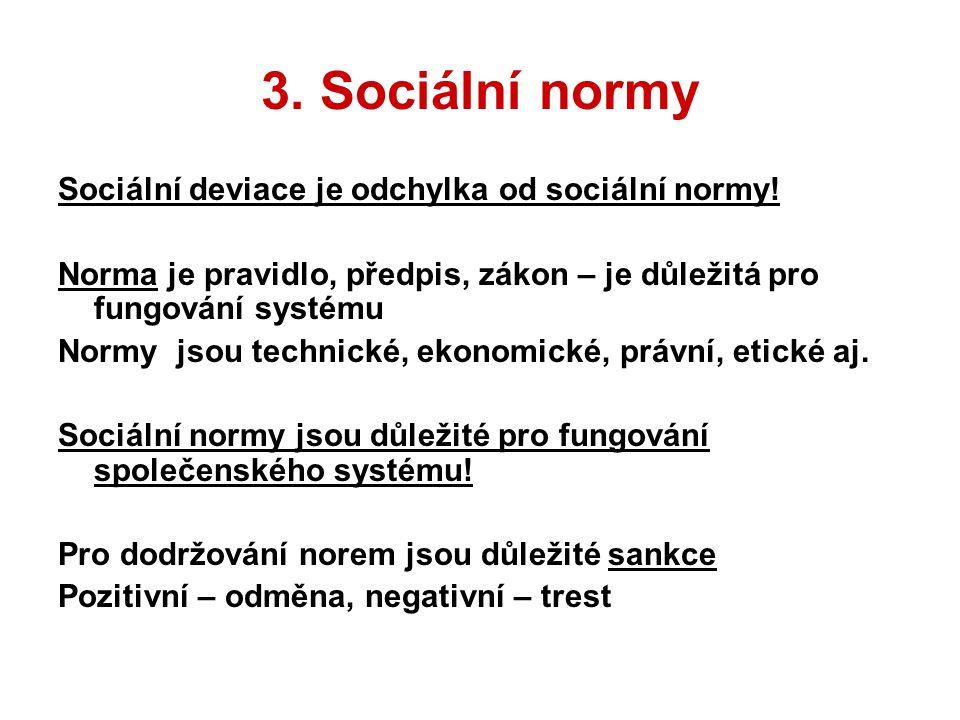 3. Sociální normy Sociální deviace je odchylka od sociální normy!