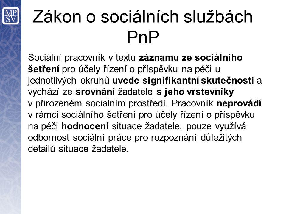 Zákon o sociálních službách PnP