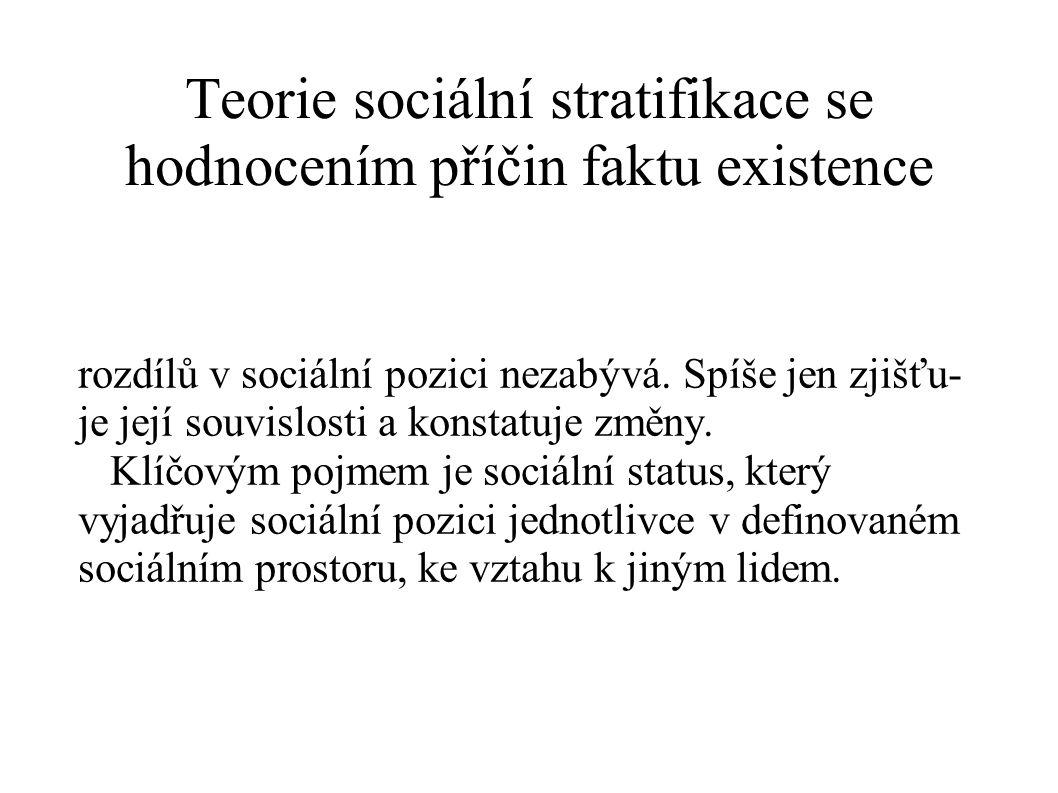 Teorie sociální stratifikace se hodnocením příčin faktu existence