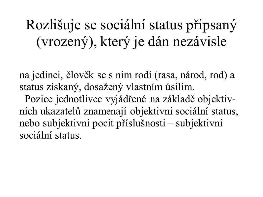 Rozlišuje se sociální status připsaný (vrozený), který je dán nezávisle