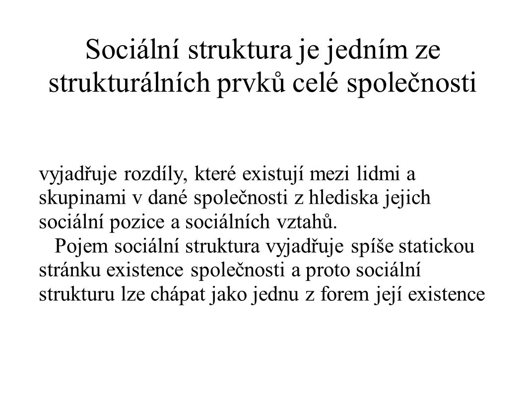 Sociální struktura je jedním ze strukturálních prvků celé společnosti