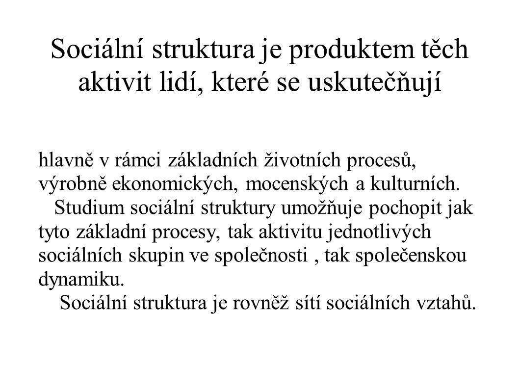 Sociální struktura je produktem těch aktivit lidí, které se uskutečňují