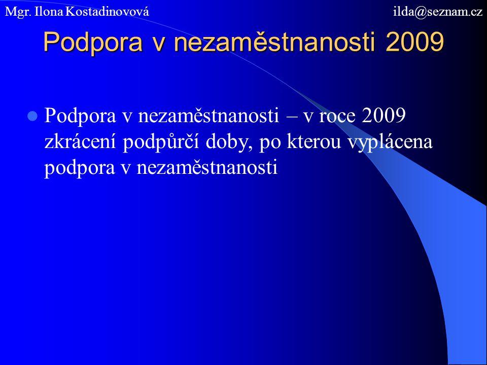 Podpora v nezaměstnanosti 2009