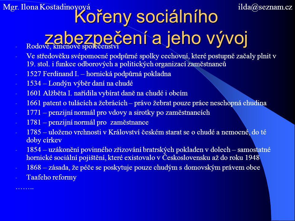 Kořeny sociálního zabezpečení a jeho vývoj