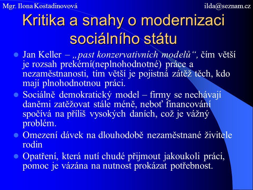 Kritika a snahy o modernizaci sociálního státu