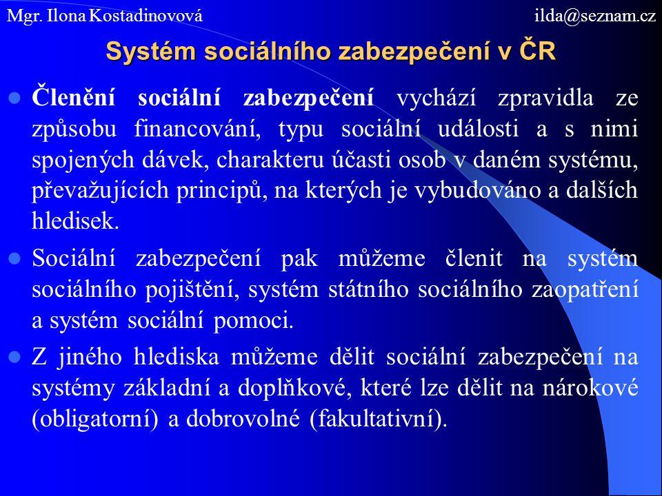 Systém sociálního zabezpečení v ČR