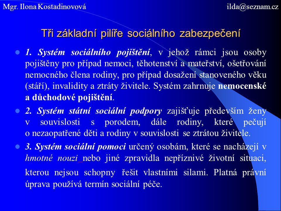 Tři základní pilíře sociálního zabezpečení