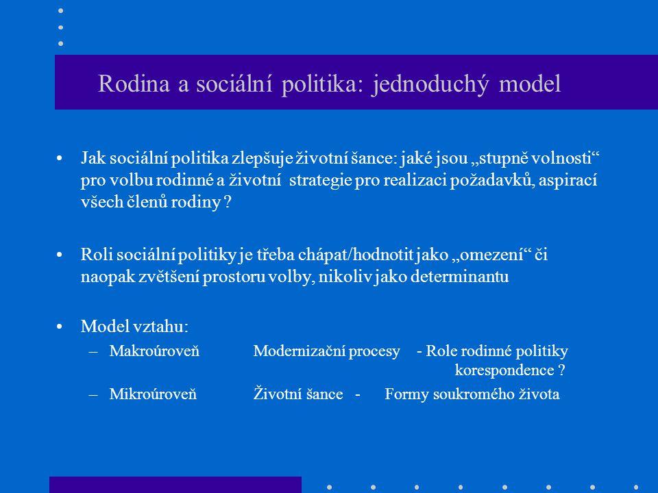 Rodina a sociální politika: jednoduchý model