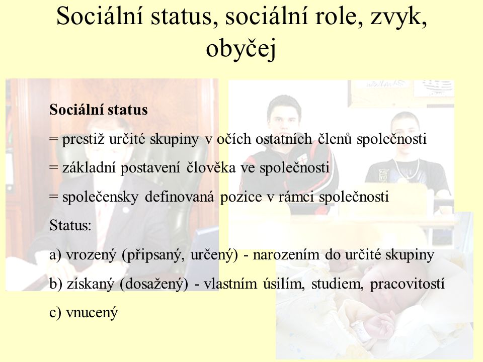 Sociální status, sociální role, zvyk, obyčej