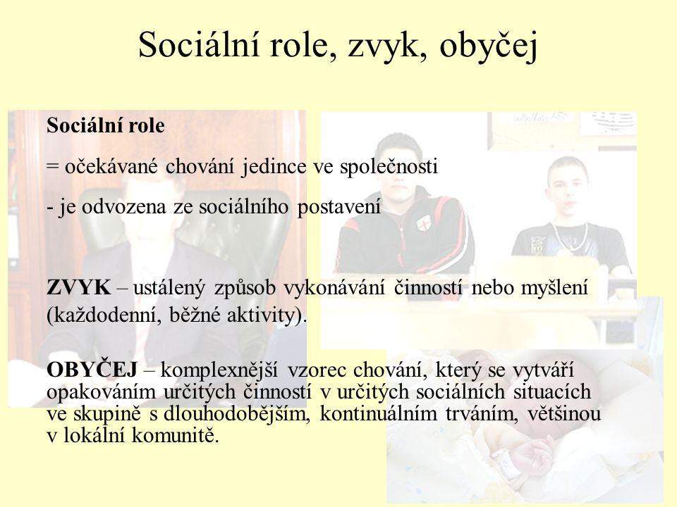 Sociální role, zvyk, obyčej