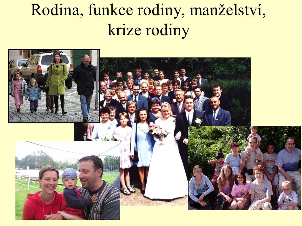 Rodina, funkce rodiny, manželství, krize rodiny