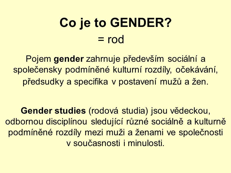 Co je to GENDER = rod.