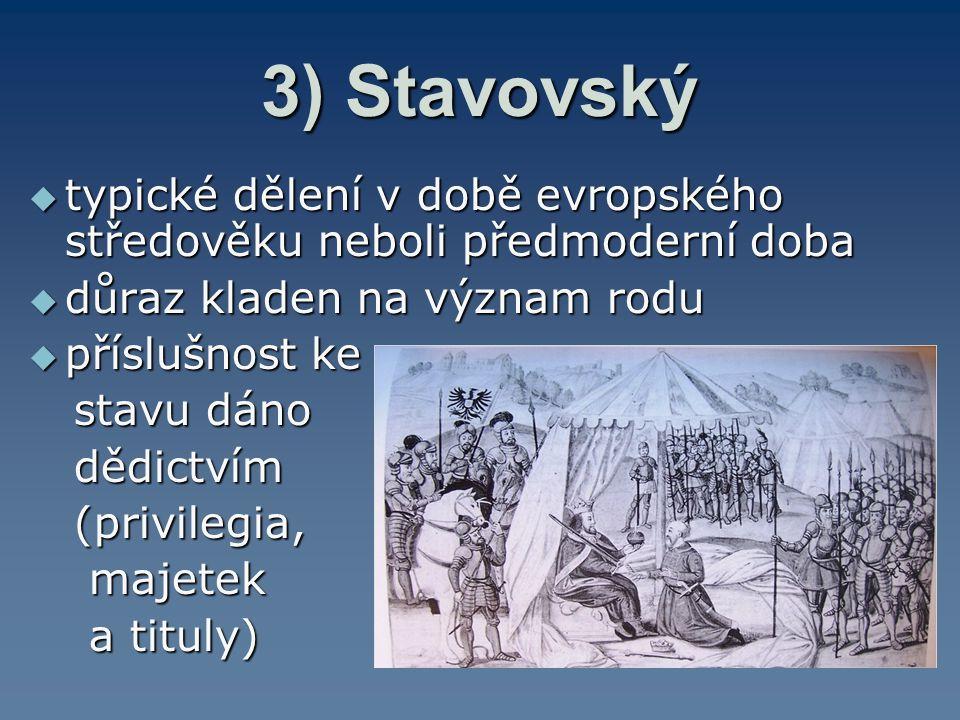 3) Stavovský typické dělení v době evropského středověku neboli předmoderní doba. důraz kladen na význam rodu.