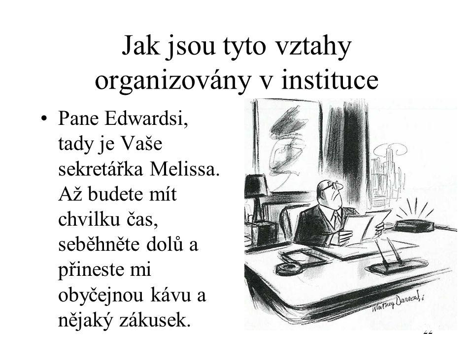 Jak jsou tyto vztahy organizovány v instituce