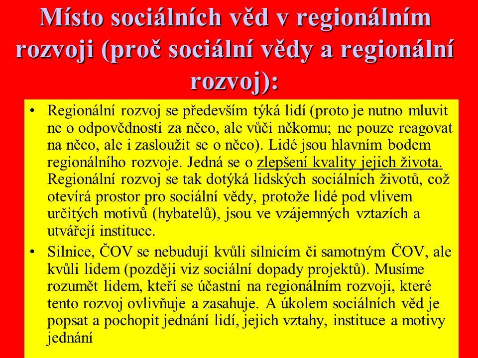 Místo sociálních věd v regionálním rozvoji (proč sociální vědy a regionální rozvoj):
