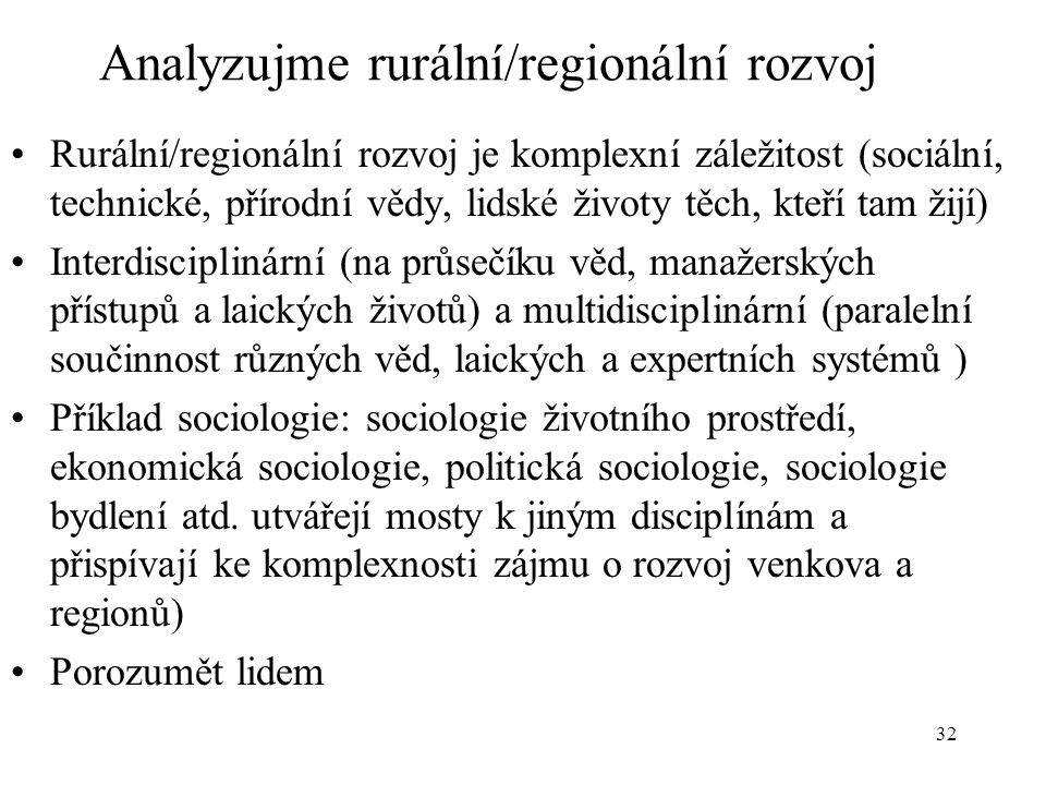 Analyzujme rurální/regionální rozvoj