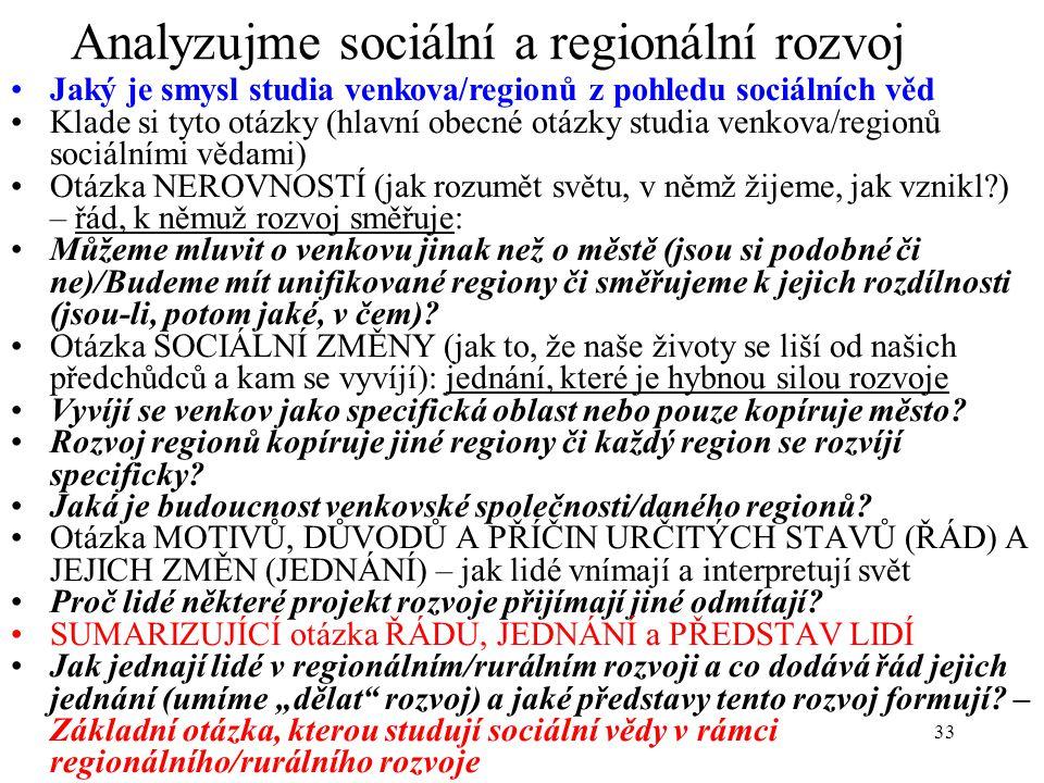 Analyzujme sociální a regionální rozvoj
