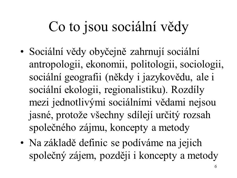 Co to jsou sociální vědy