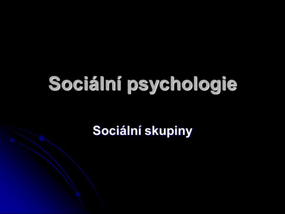 Sociální psychologie Sociální skupiny