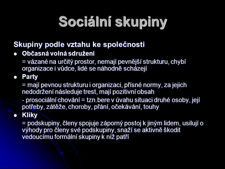 Sociální skupiny Skupiny podle vztahu ke společnosti